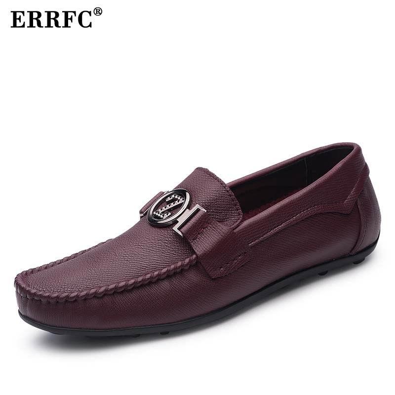 ERRFC Trend Of Men Slip On Loafer Shoes Fashion Designer Round Toe Flat Shoes For Man