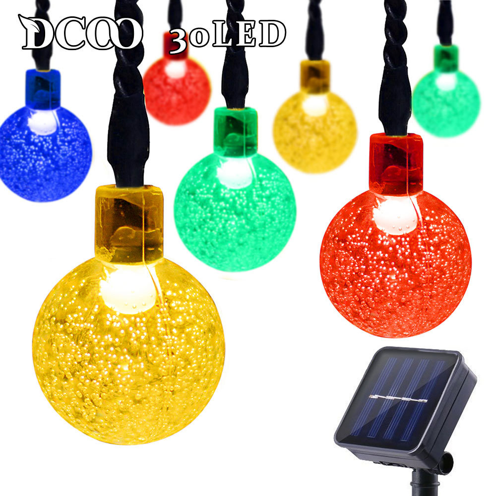 Dcoo Outdoor String Lighting Soldriven Globe Ball Lights 30 LED Sloar - Utomhusbelysning - Foto 3