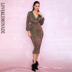 Image 3 - LOVE&LEMONADE Sexy Gradient Dark V neck Sequins Lantern Sleeve Party Knee Dress LM81928 1