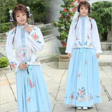 Girl's Cotton Retro Long Maxi Skirt Vintage A-Line Pleated Skirt Flowers Pattern Embroidery Chinese HanFu Clothing Top + Dress