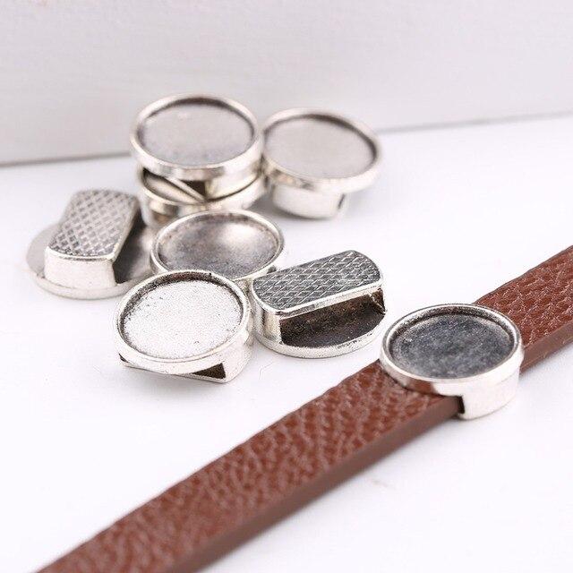 Onwear 20 pz in pelle piatta branelli del cursore argento antico blank 12mm cabo