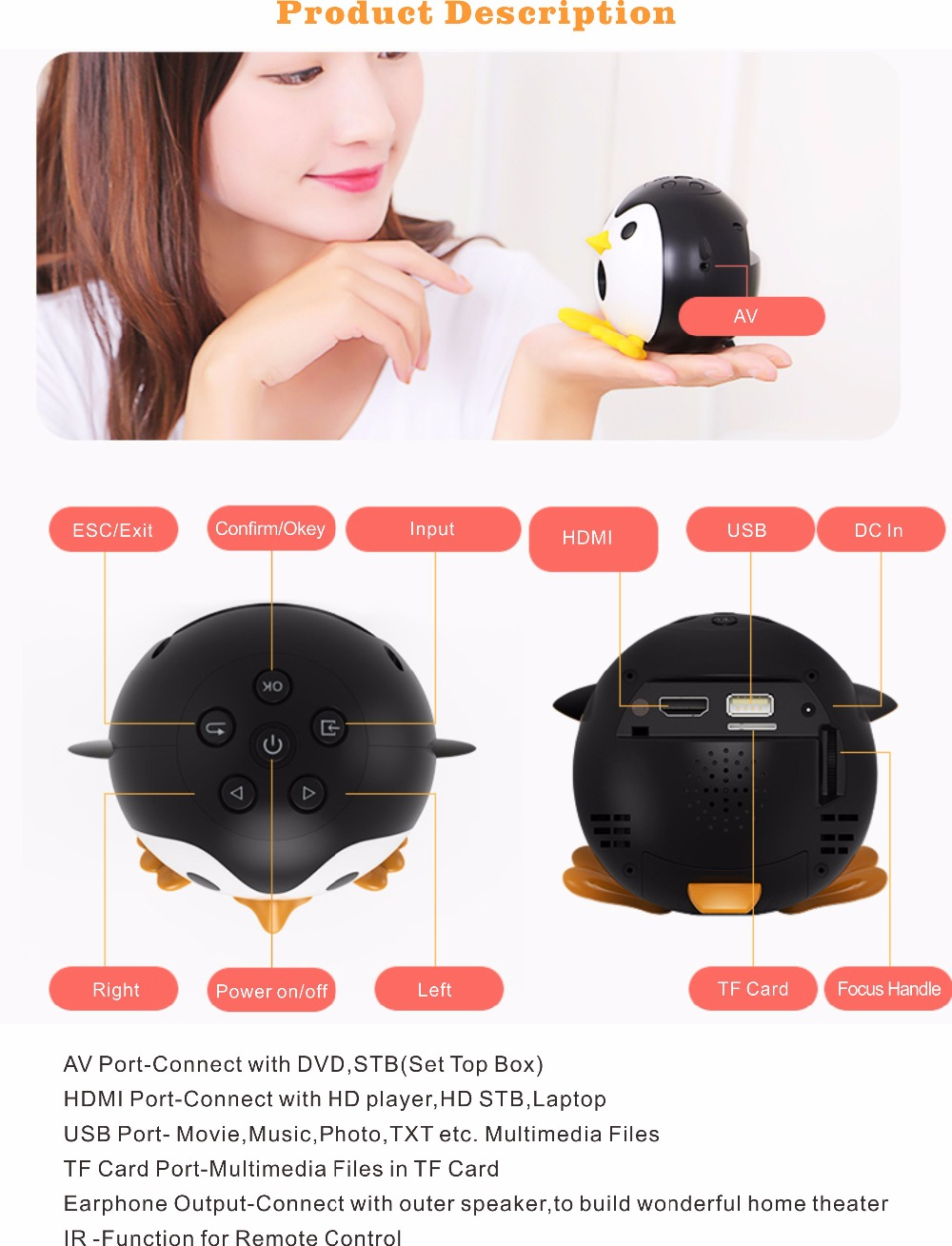 400Lumen Cute Penguin WIFI Micro DLP Mobile LED Projector Support 1080P TF USB HDMI AV & IOS Android Input with Battery Built-in_8