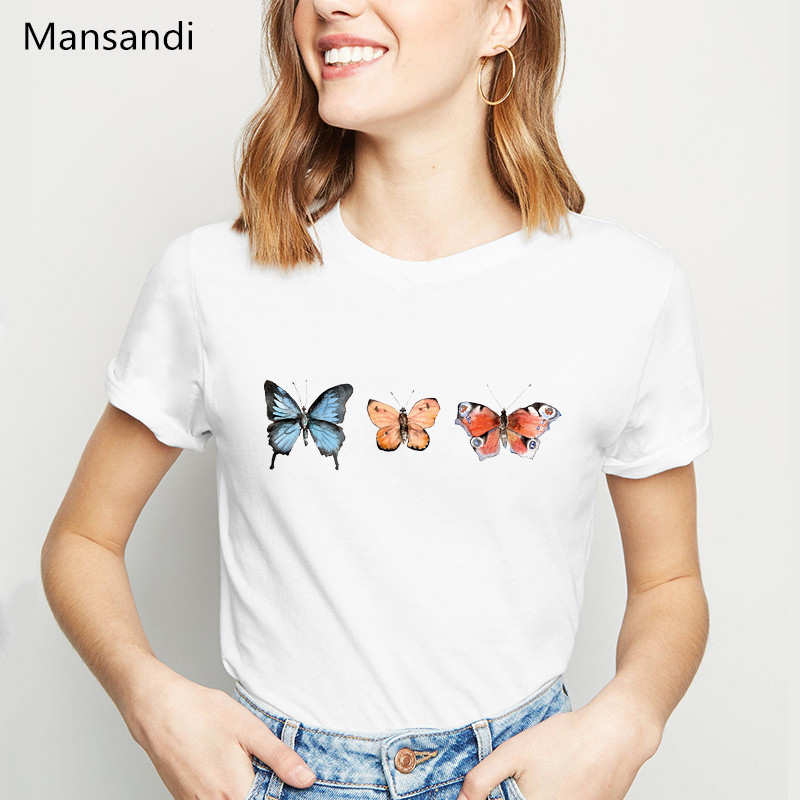Watercolor Butterfly Printed T Shirt Women Summer Fashion Tshirt Camisetas Mujer Tumblr Clothes Streetwear Female T-shirt Tops