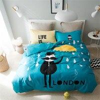 YeeKin New Design Deep Blue And Yellow Printed Beard Cartoon Characters Quilt Duvet Cover Flat Bed
