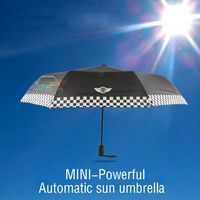 Black Checkered Automatic Folding Umbrella For BMW MINI Cooper S R50 R53 R56 R60 F55 F56