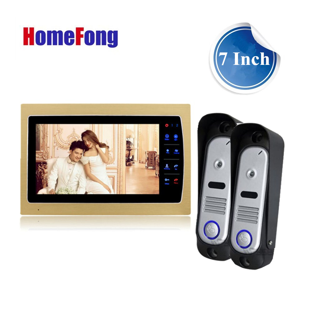 Homefong Home intercom Video Door Phone system 7 Inch 800TVL High Resolution Golden Monitor Recording Picture/Video Waterproof