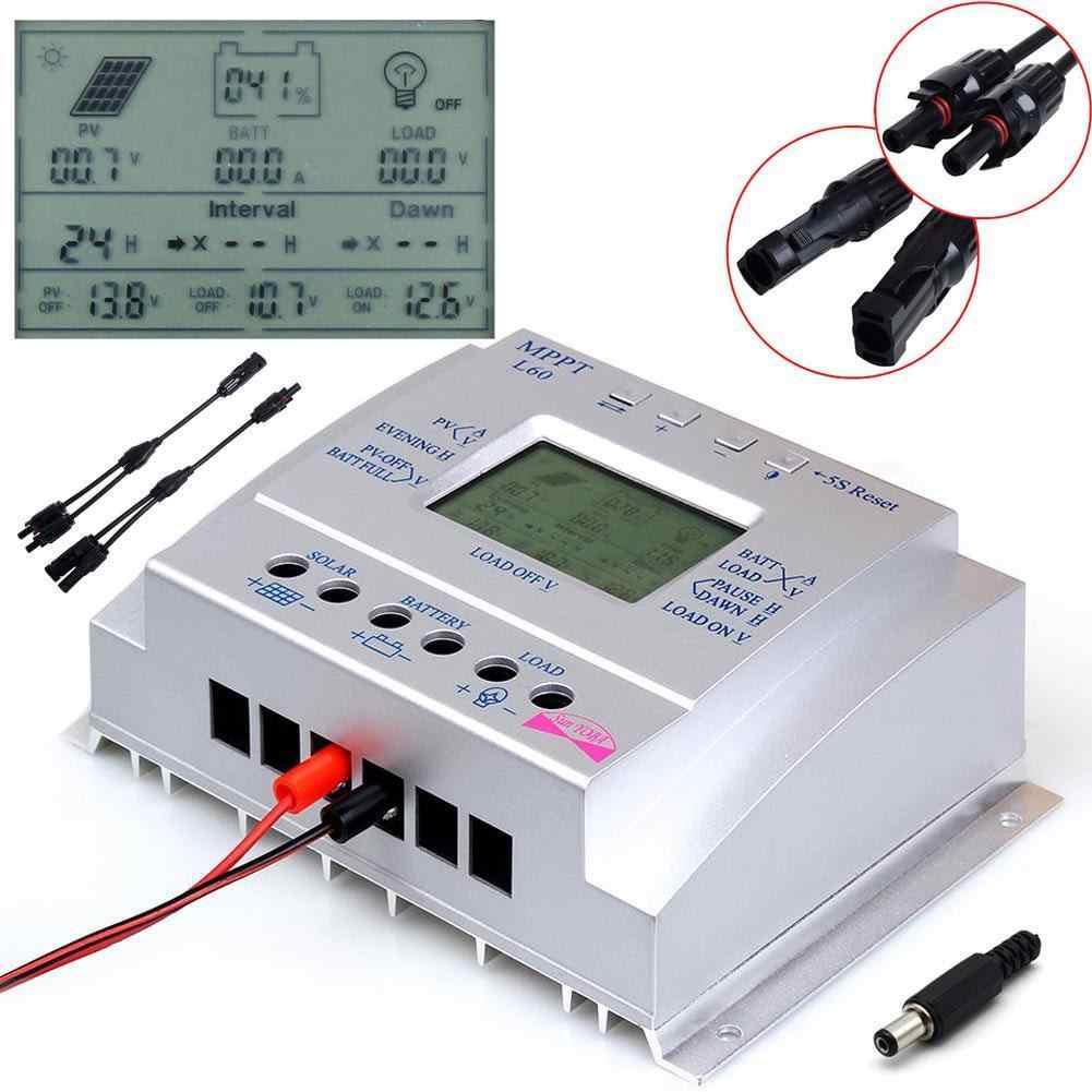 Controlador de carga regulador de Panel Solar inteligente 60A MPPT interruptor automático 12 V/24 V 750 W/1500 W Y LCD USB + tipo Y MC4 conector