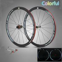 Ultra Light дороги колеса велосипеда 700C велосипед Clincer колесная + quick release углеродного волокна концентратор 40 мм глубина красочный Марка 4 подшипн