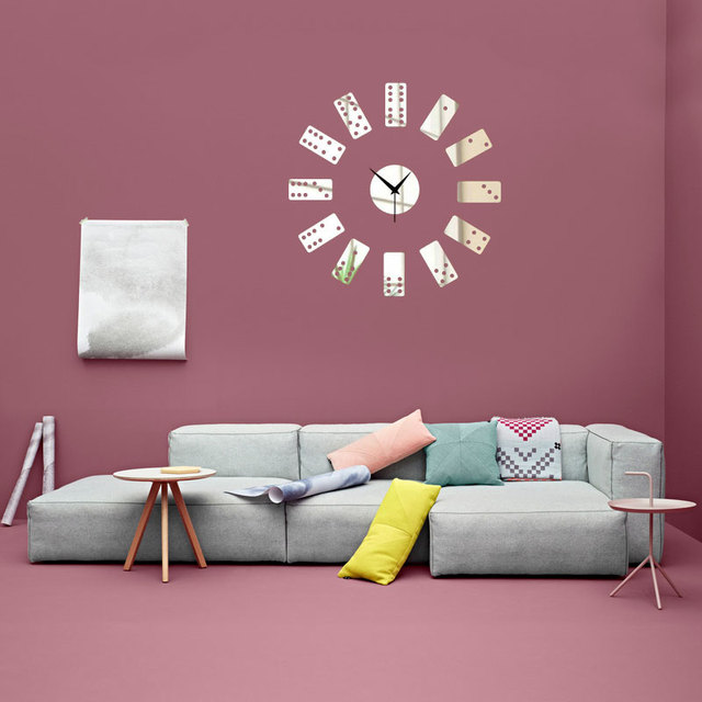 DIY 3D Mirror Sticker Dominoes Hanging Clock Decal Wall Sticker ...