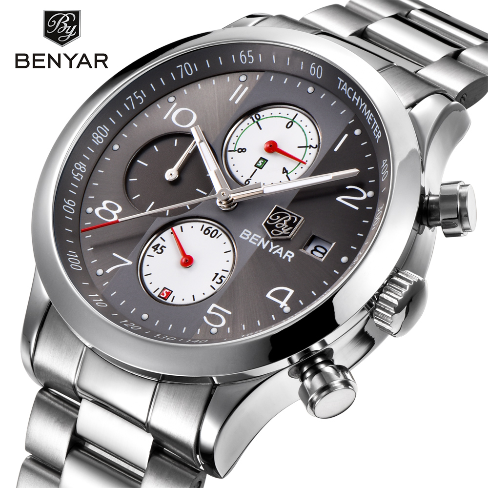 BENYAR Fashion Men Stainless Steel Strap Brand Quartz Watch Chronograph Sport Watches Clock Relogio Masculino Reloj Hombre grey weide popular brand new fashion digital led watch men waterproof sport watches man white dial stainless steel relogio masculino