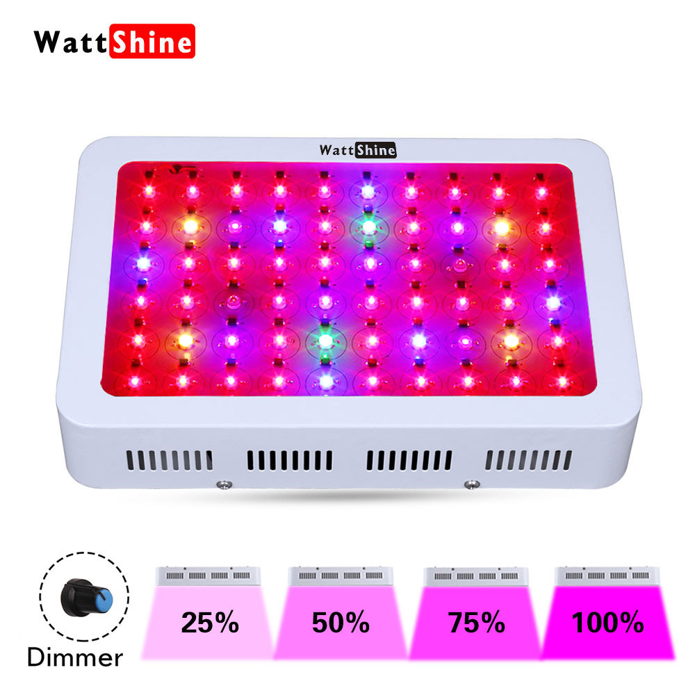Dimmer 300W led grow light Double chips hydroponics lighting Full spectrum Herbs Flowers Medicine Veg Bloom Growth Greenhouse