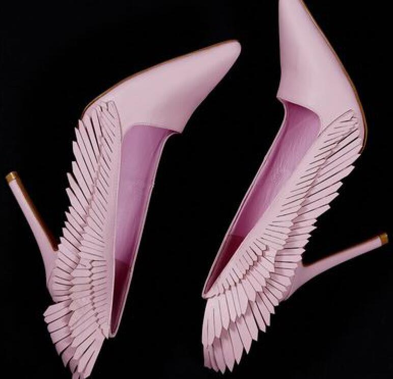 цены Spring Hot Pointed Toe Women Slip On Pumps Sweet Wing Fringe Side Ladies Sexy High Heels New Fashion Dress Shoes Party Shoes
