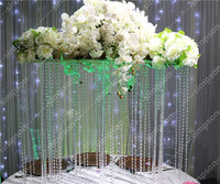 2pcs/lot Wedding Crystal Acrylic Clear Flower Stand 31inch Tall*39inch Width Chandelier for Wedding decorations Party decoration