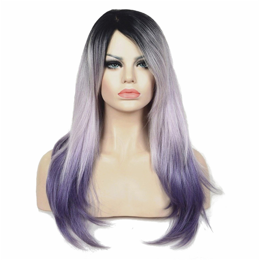 StrongBeauty Women's Long Straight Hair Light purple Ombre Wig Synthetic Full Wigs-in Synthetic None-Lace  Wigs from Hair Extensions & Wigs    1