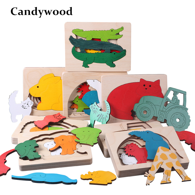 Candywood New Children Toy Animal Cartoon 3D Puzzle Multilayer Jigsaw Puzzle Baby Wooden Toys Child Creative Early Educational