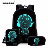 Coloranimal Luminous Set Schoolbag Boy Girl Orthopedic School Bag Cartoon Print Mochila Escolar Children Backpack Set Back Pack