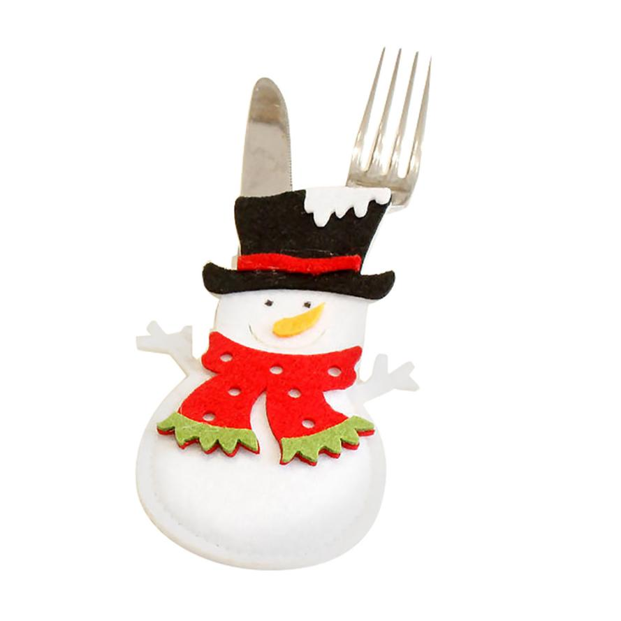 New Arrival 1PC Christmas Cartoon Accessorie Snowman Dinnerware Cover Xmas Fork Tableware Cover Drop Shipping ap904