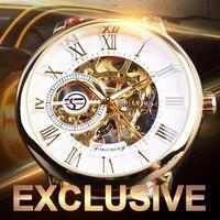 Forsining 3d Logo Design Hollow Engraving Brown Gold Case Leather Skeleton Mechanical Watches Men Luxury Brand