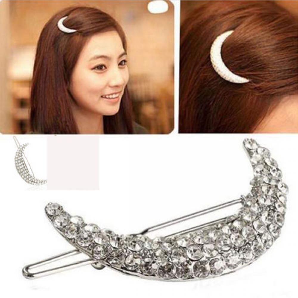 1 pcs Elegant Crystal Moon Rhinestone Hair Clip Bang Clip Headdress Hairpin Clamps Sale Hair Accessories halloween party zombie skull skeleton hand bone claw hairpin punk hair clip for women girl hair accessories headwear 1 pcs