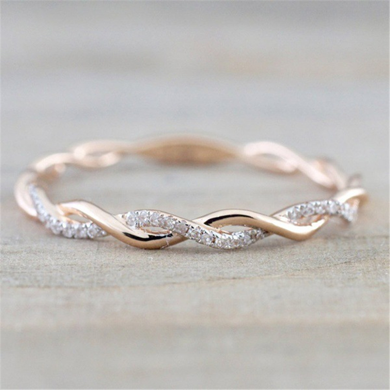 Rose Gold Diamond Wave Ring Diamante Bizuteria Ronde Classic Bague Etoile Edelsteen Ring Voor Vrouwen 925 Sterling Zilver Kleur