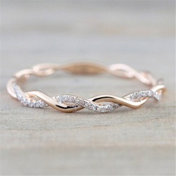 Rose Gold Diamond Wave Ring Diamante Bizuteria round classic Bague Etoile Gemstone ring for Women 925 Sterling Silver Color