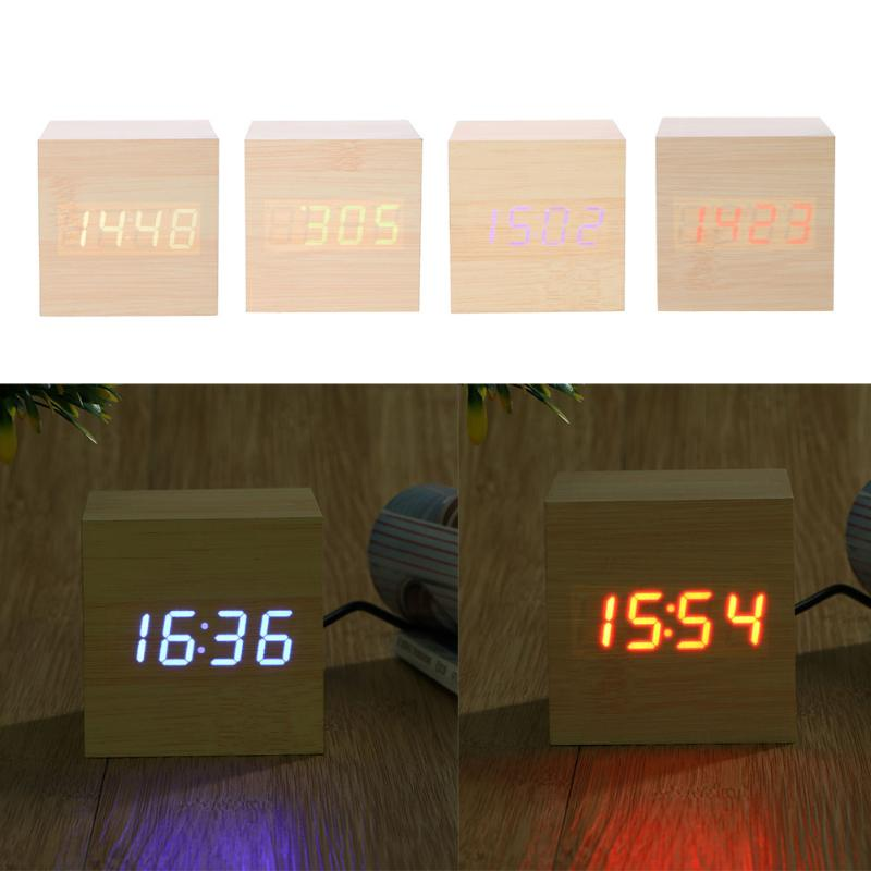 Cube Wooden Clock Electronic Desk Voice Control Clock Creative LED Digital Wood Table Watch For Children Bedside Alarm Clock