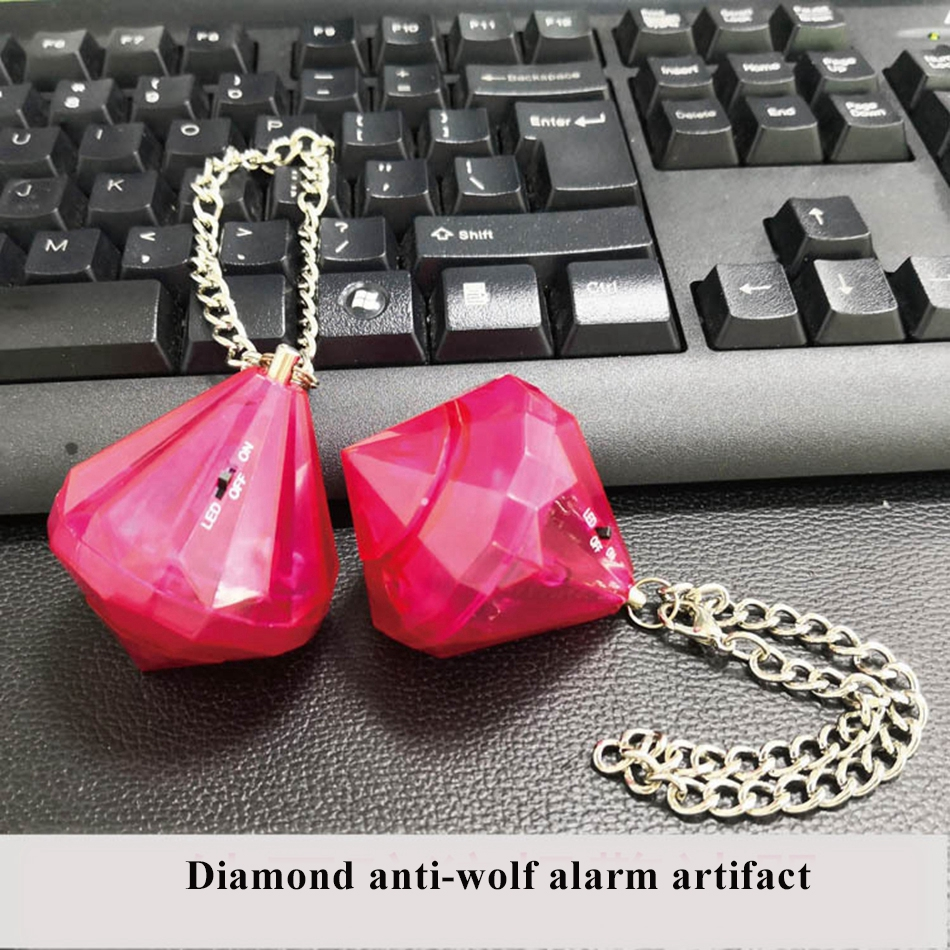 Women Self Defense Alarm 130db Diamond Shap Anti-wolf keychain for Girl Child Personal Safety Security Alert Anti-lost nocturnal wolf prints diamond paintings