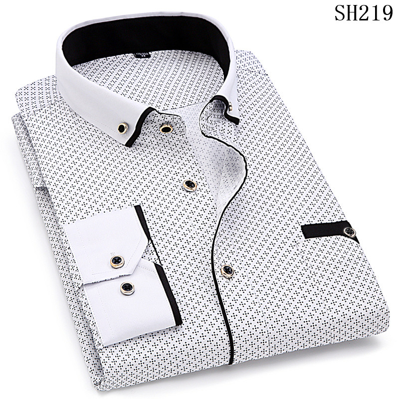 HTB1EphnSMDqK1RjSZSyq6yxEVXaJ - Fashion Print Casual Men Long Sleeve Shirt Stitching Fashion Pocket Design