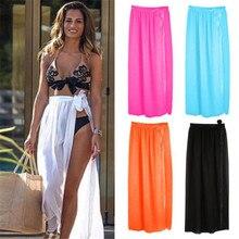Для женщин купальники для малышек Бикини Cover Up Sheer пляжные юбка, саронг Парео длинное платье купальник пляжная одежда