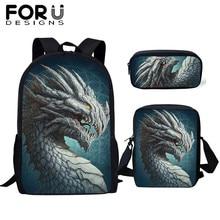 FORUDESIGNS Cool Dragon Cartoon Animal Print Kids School Bag Set Primary Backpack Book Bag Student Boys Children Bookbag Mochila