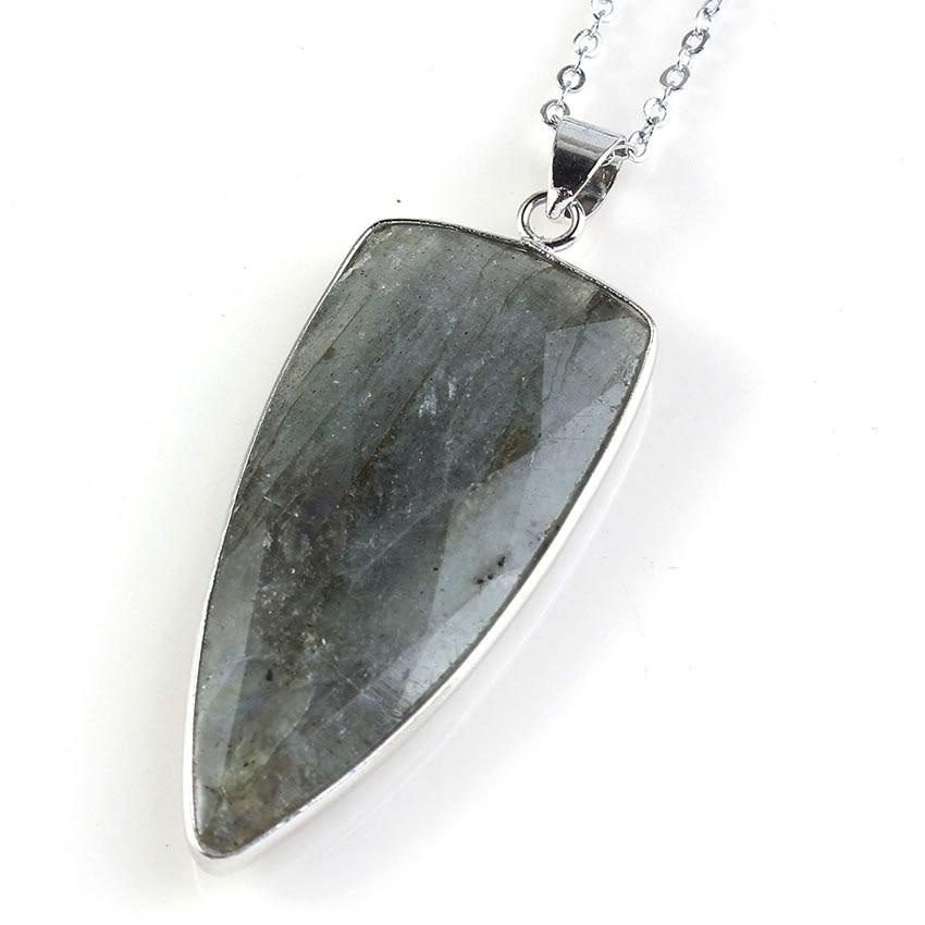 ツ)  ¯Moda de perlas popular plateado triángulo piedra labradorita ... 5ccba5a4d0d4
