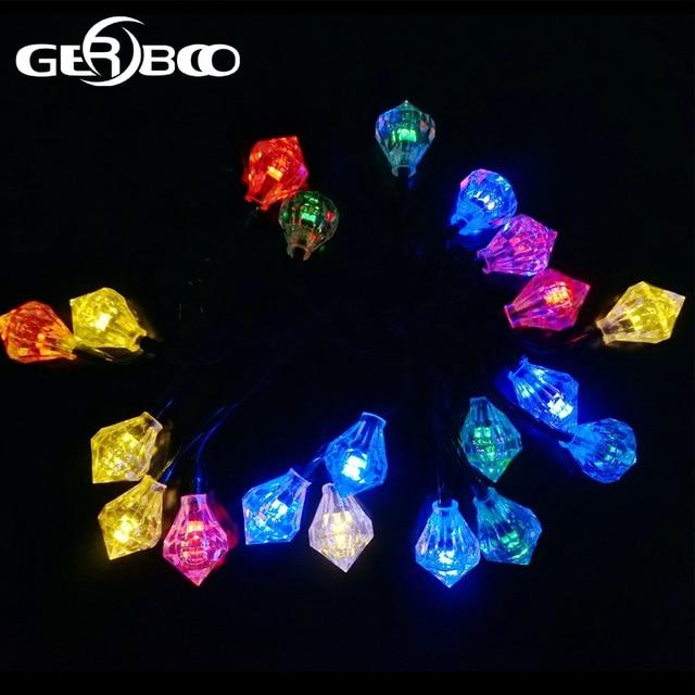 solar powered led christmas lights diamond shaped globe lighting waterproof outdoor lights 2pcslot