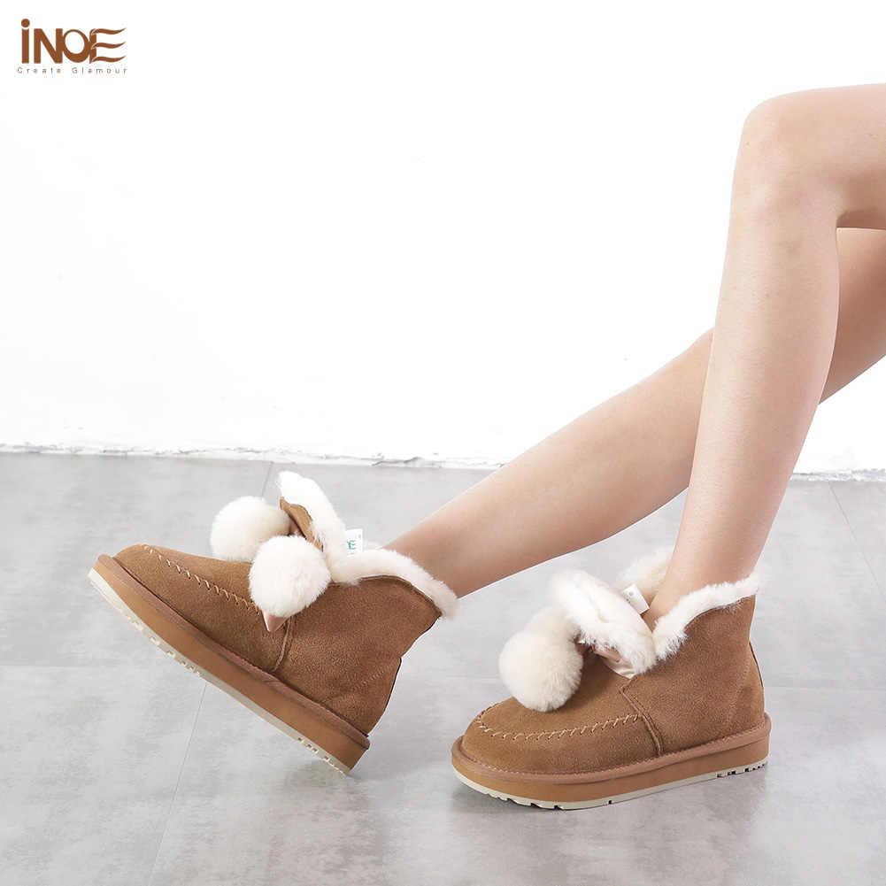 INOE yeni stil inek süet deri kadın koyun yün kürk astarlı ayak bileği kısa kar botları kadınlar için pom-pom kış ayakkabı siyah gri