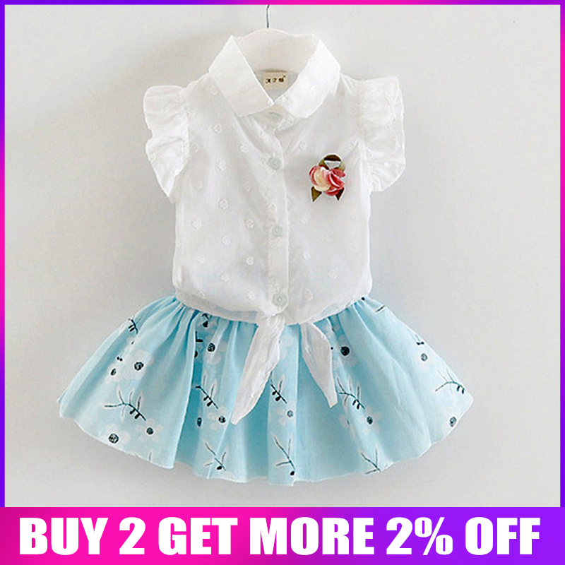 BibiCola summer baby girl floral printed outfits clothes infantis bebes lace vest +tutu skirt dress party wedding clothing sets
