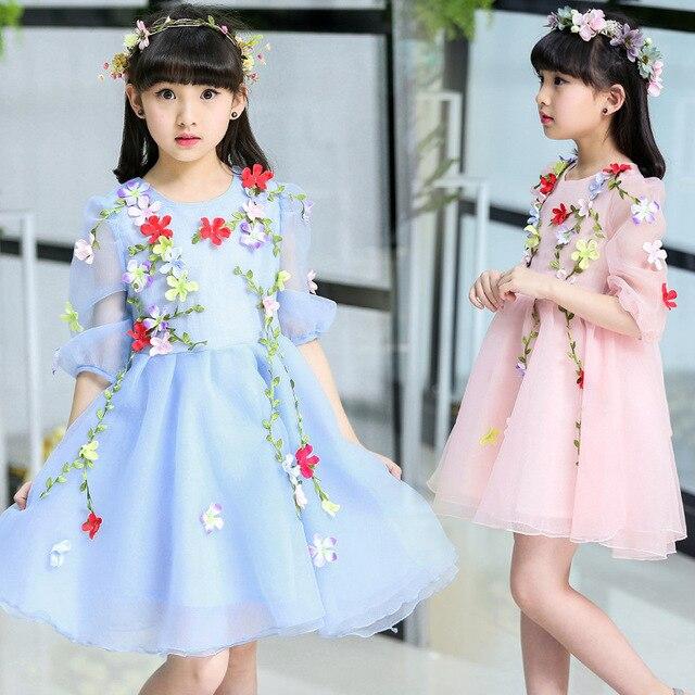 43aadb6a38fbf8 Mesh Jurken Meisjes Zomer Bloemen Bloemen Jurken Kinderen Mooie Party  Bruiloft Kleding Prinses Jurk Meisje Lolita