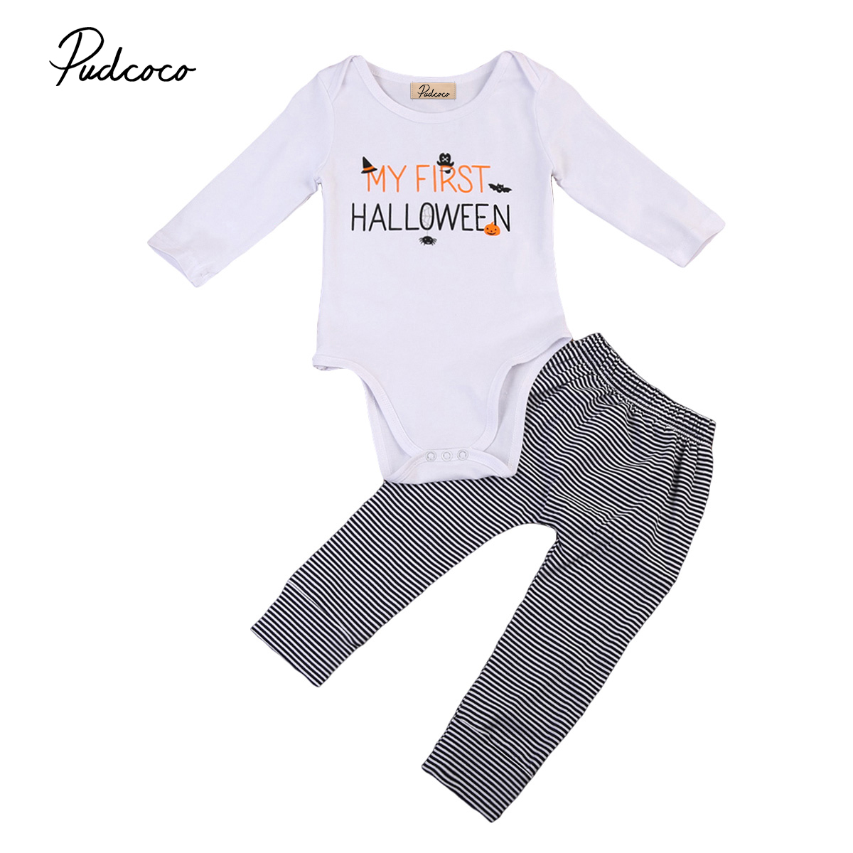 Hot Fashion Pumpkin Baby Suits Newborn Baby Boy Girl Halloween Jumpsuits Long Sleeve Rompers Toddler Striped Pants 2pcs Outfits