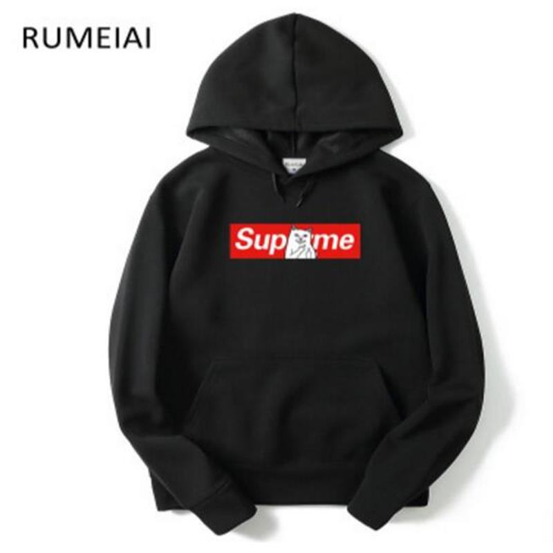 SEA PLANETSP Men black Printing Suprem Hoodies Sweatshirts