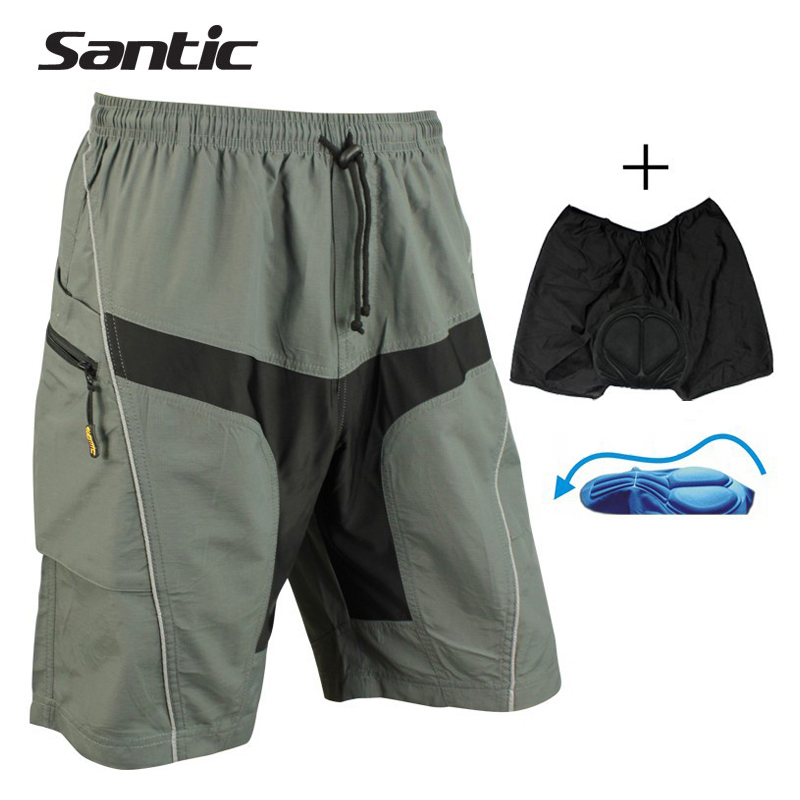 SANTIC Men Bicycle Shorts With 3D Padded Lining Detachable Underwear Polyester Leisure Sportswear Bicycle Cycling Shorts C05018