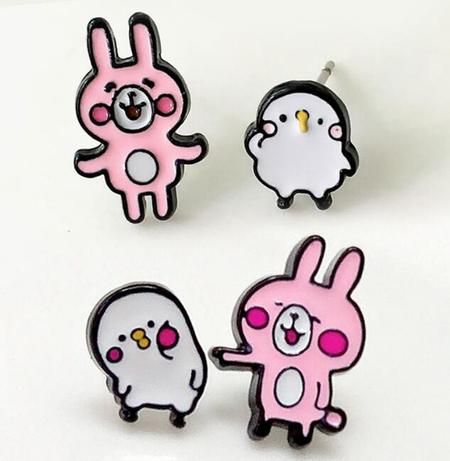 Kanahei rabbit cartoon cute Personality Asymmetric Small Earrings unisex ear stud Ear Ring earring anime