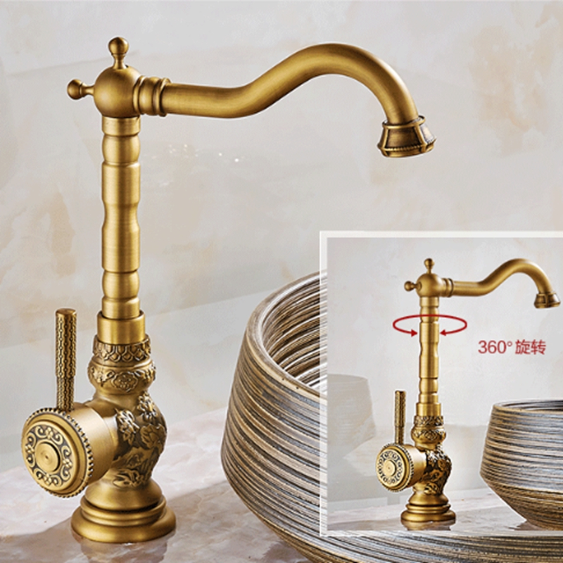Modern Antique Brass Bathroom Basin Faucet Fower Carved Body Vanity Sink Mixer Single Handle Hole Sink Mixer