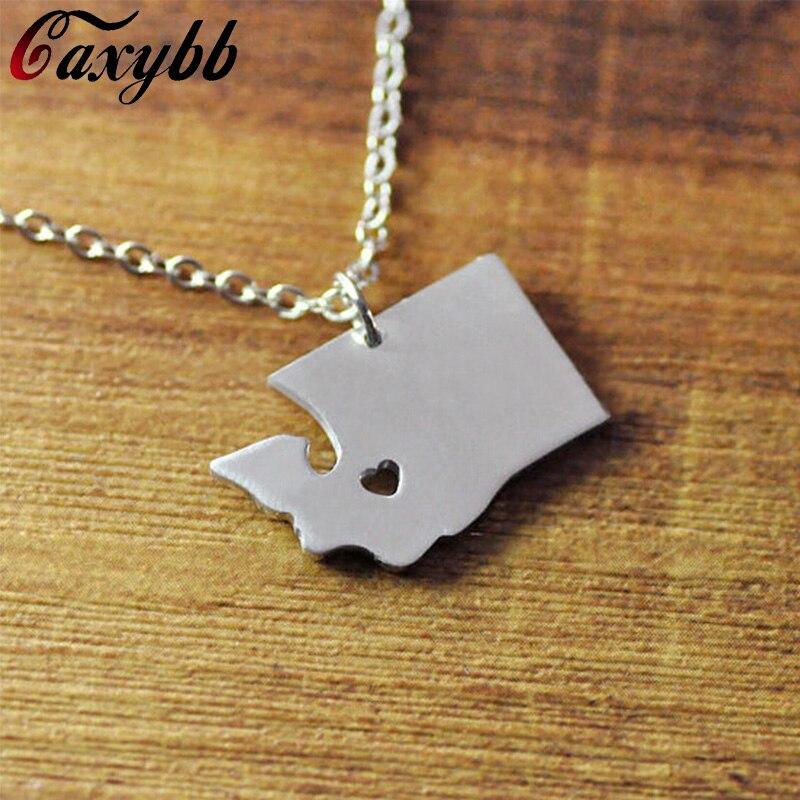 Personalized map necklace, state necklaces,custom map pendant , Custom Washington necklace,California ,Ohio,Texas FTH-N012