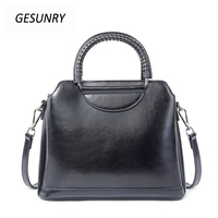 Fashion Genuine Leather Top Handle Women Handbag Solid Ladies Real Lether Shoulder Bag Casual Large Capacity