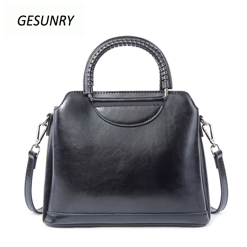 Fashion Genuine Leather Top-handle Women Handbag Solid Ladies Real Lether Shoulder Bag Casual Large Capacity Tote Crossbody Bags mint student navy canvas pen pencil case coin purse pouch bag jun01