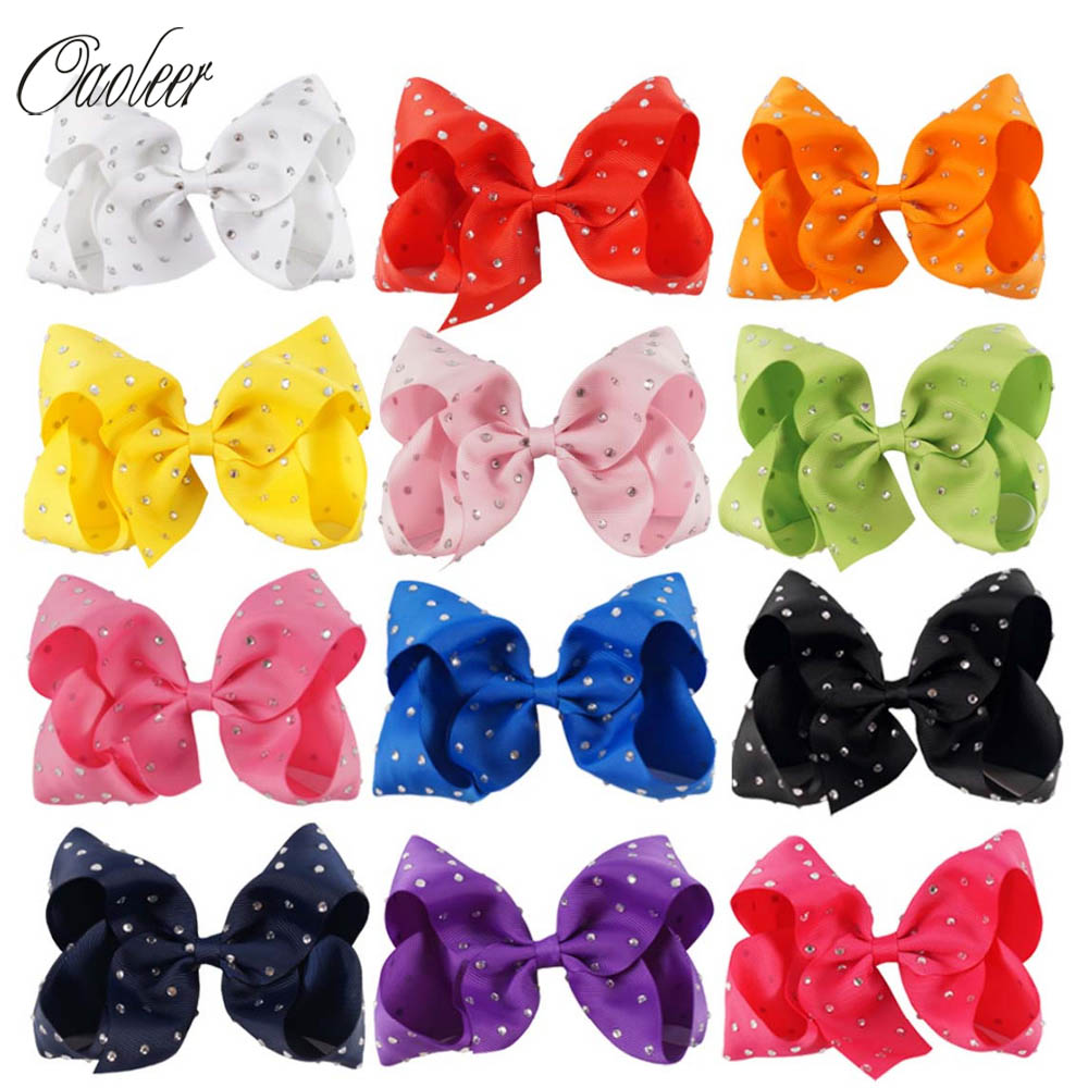 6pcs/lot 5Solid Grosgrain Ribbon Rhinestone Bow With Clip For Kids Handmade Boutique Crystal Hairgrips Girl Hair Accessories вышивка риолис 731 город у моря