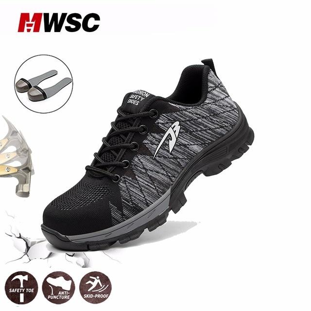 MWSC Mùa Hè Người Đàn Ông An Toàn Giày Làm Việc Thoáng Khí Giày cho Người Đàn Ông Làm Việc Lưới Khởi Động Thép Cap Toe Bảo Vệ Giày Xây Dựng Giày