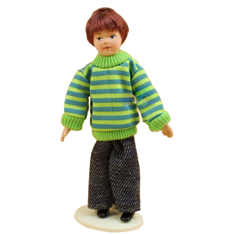 1Pcs 1:12 Dollhouse Miniature Porcelain Fashion Dolls Jarhead Boy Model Playing Crafts Dolls