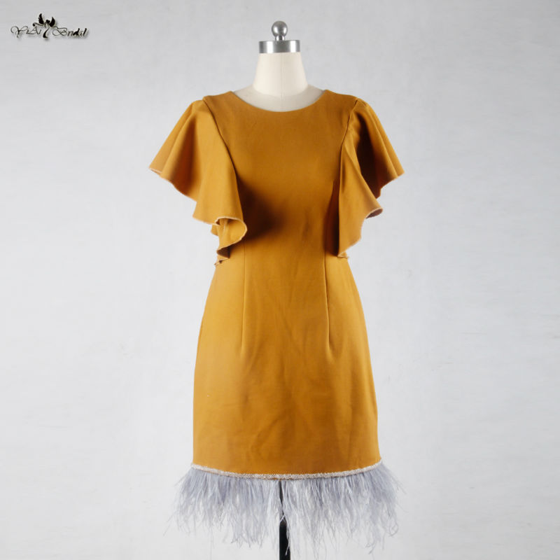 RSE694 Yellow Crepe Short Feather   Cocktail     Dress