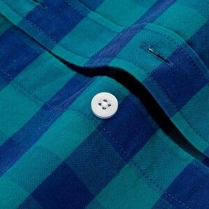 Image 4 - Camisa masculina de algodão xadrez casual, camisa de algodão oxford, com bolso único, manga comprida, gola com botão, gingham camisa com camisa