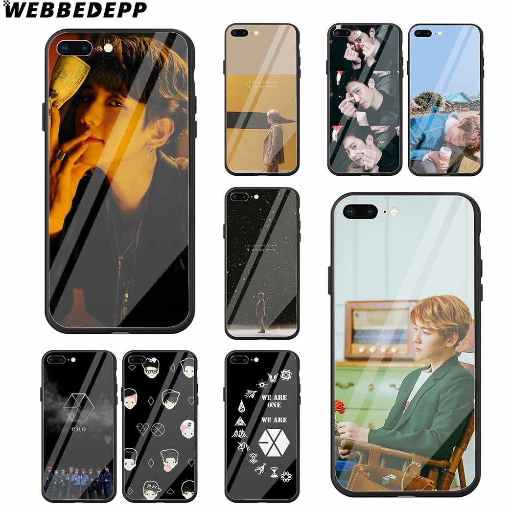 WEBBEDEPP EXO Baekhyun Chanyeol Tempered Glass Phone Case for Apple iPhone Xr Xs Max X or 10 8 7 6 6S Plus 5 5S SE 7Plus