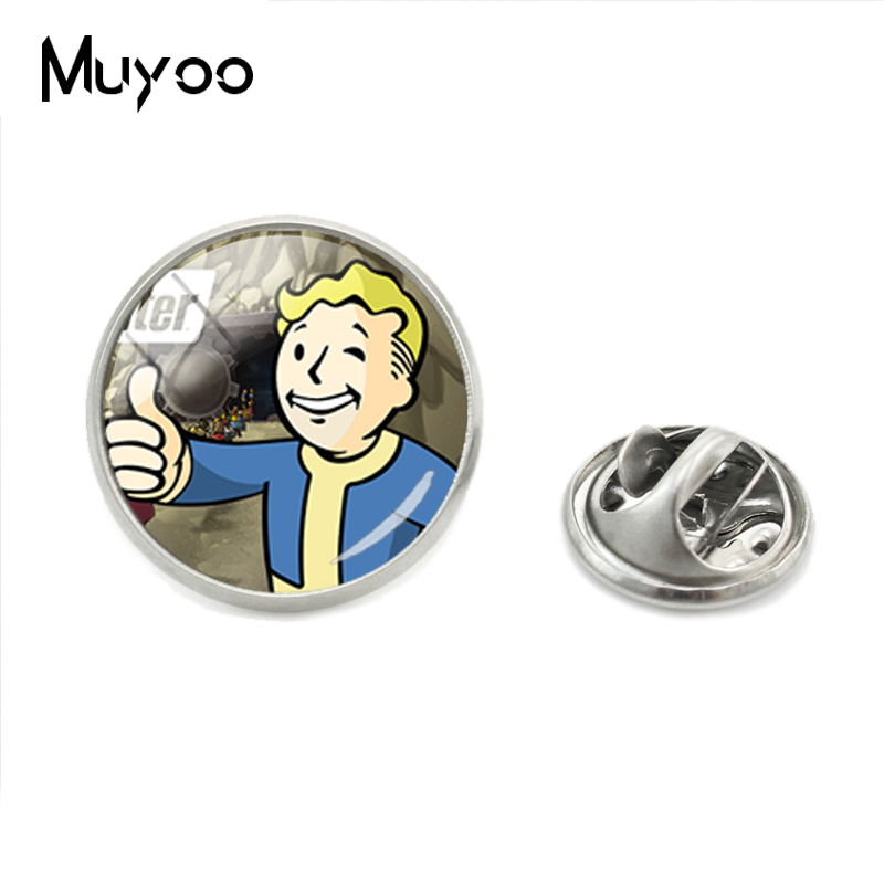 2018 New Style Fallout Shelter Laple Pin Game Photo Brooches Silver Glass Round Pins Handmade Jewelry Best Gift for Gift image